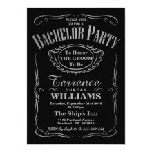 Metallic Silver Typography Bachelor Party Invitation