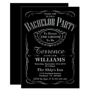 Trendy Metallic Silver Typography Bachelor Party Invitation