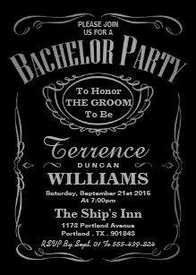 Trendy Metallic Silver Typography Bachelor Party Invitation