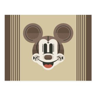Trendy Mickey | Stylized Stripes Retro Head Postcard