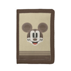 Trendy Mickey | Stylized Stripes Retro Head Trifold Wallets at Zazzle