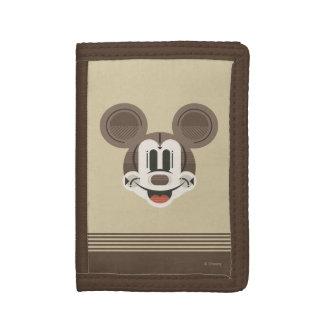Trendy Mickey | Stylized Stripes Retro Head Trifold Wallets