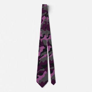 Trendy Military Dark Purple Camouflage Men's Tie