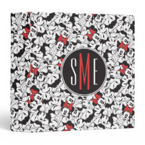 Trendy Minnie | Monogram Classic Pattern 3 Ring Binder