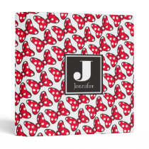 Trendy Minnie | Polka Dot Bow Monogram 3 Ring Binder
