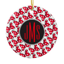 Trendy Minnie | Polka Dot Bow Monogram Ceramic Ornament