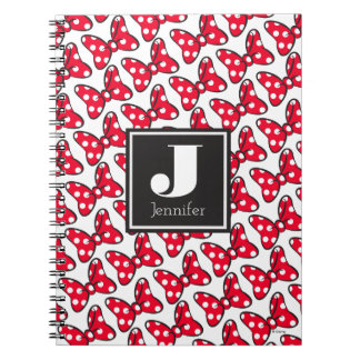 Trendy Minnie | Polka Dot Bow Monogram Spiral Notebook