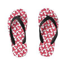 Trendy Minnie | Polka Dot Bow Pattern Kid's Flip Flops at Zazzle