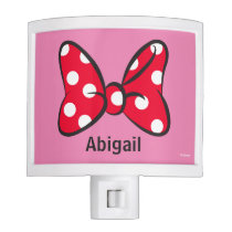 Trendy Minnie | Red Polka Dot Bow - Add Your Name Night Light