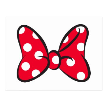 Disney Themed Trendy Minnie | Red Polka Dot Bow Postcard