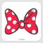 Trendy Minnie | Red Polka Dot Bow Square Sticker