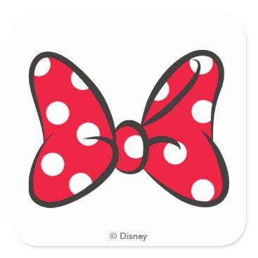 Disney Themed Trendy Minnie | Red Polka Dot Bow Square Sticker