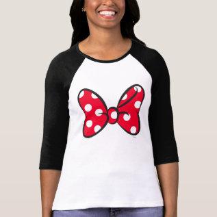 Trendy Minnie   Red Polka Dot Bow T-shirt at Zazzle