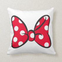Trendy Minnie | Red Polka Dot Bow Throw Pillow