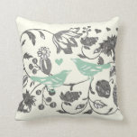 Trendy Mint and Gray Vintage Floral Bird Pillow