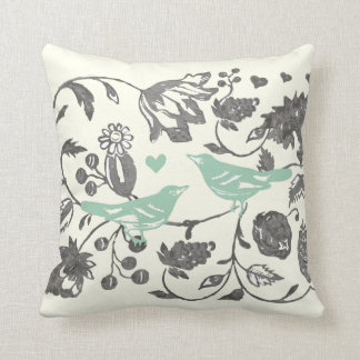 Trendy Mint and Gray Vintage Floral Bird Throw Pillow