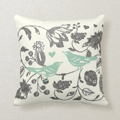 Trendy Mint and Gray Vintage Floral Bird Throw Pillow Zazzle