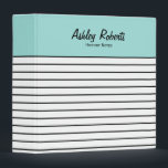 """Trendy Mint Black White Stripes School Binder<br><div class=""""desc"""">This cute and trendy colorblock school binder has a modern mint green,  black and white stripe design. Personalize the text with the name and subject.</div>"""