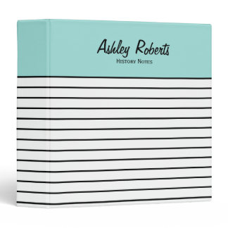 Trendy Mint Black White Stripes School Binder