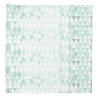 Trendy Mint Geometric Triangle Pattern Duvet Cover at Zazzle