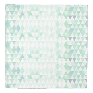 Trendy Mint Geometric Triangle Pattern Duvet Cover