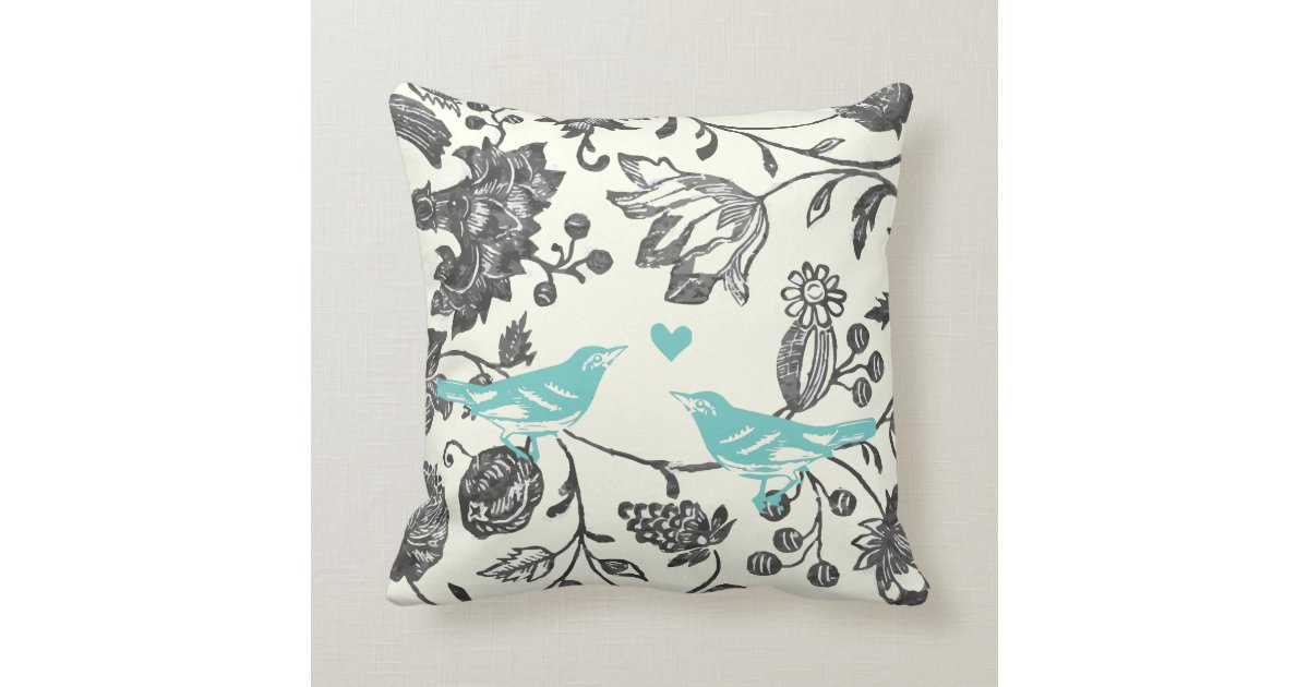 Trendy Mint Gray Vintage Modern Floral Bird Pillow Zazzle