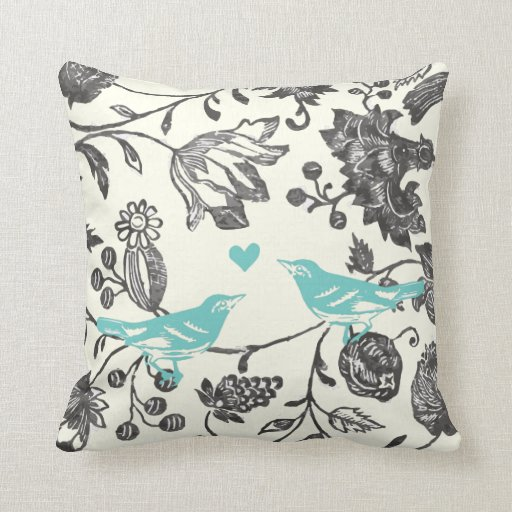 Modern Vintage Pillows : Trendy Mint Gray Vintage Modern Floral Bird Throw Pillow Zazzle