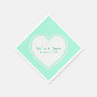 Trendy Mint Green and White Custom Wedding Napkin