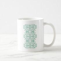 Trendy Mint Green Damask Pattern Coffee Mug