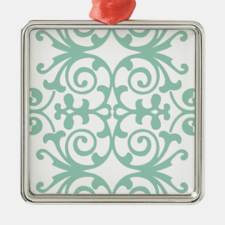 Trendy Mint Green Damask Pattern Metal Ornament