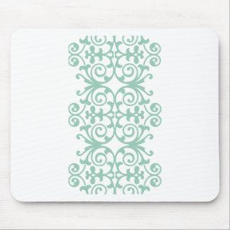 Trendy Mint Green Damask Pattern Mouse Pad