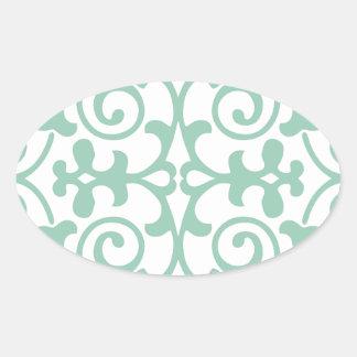 Trendy Mint Green Damask Pattern Oval Sticker