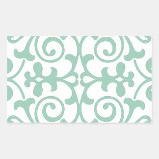 Trendy Mint Green Damask Pattern Rectangular Sticker
