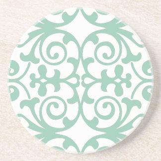 Trendy Mint Green Damask Pattern Sandstone Coaster