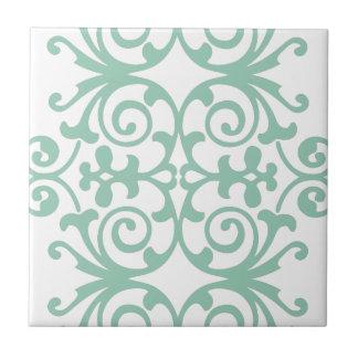 Trendy Mint Green Damask Pattern Tile