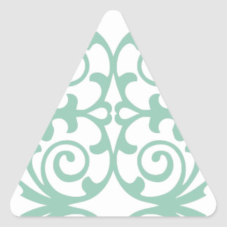 Trendy Mint Green Damask Pattern Triangle Sticker