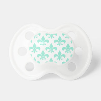 Trendy Mint Green Fleur de Lis Pacifier