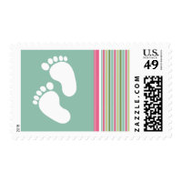 Trendy Mint Green & Pink Stripes Postage
