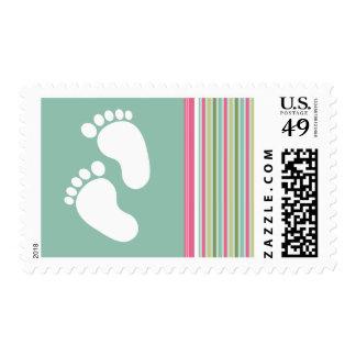 Trendy Mint Green & Pink Stripes Stamp
