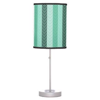 Trendy Mint Green Variegated Chevron Stripes Desk Lamp