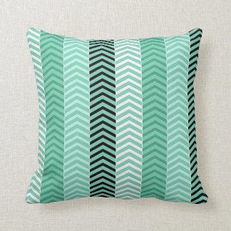Trendy Mint Green Variegated Chevron Stripes Throw Pillow