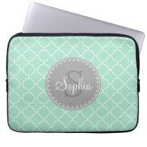 Trendy Mint Trellis Pattern Grey Monogram Laptop Sleeve