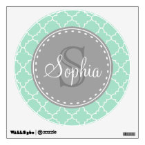 Trendy Mint Trellis Pattern Grey Monogram Wall Decal