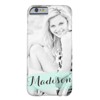 Trendy Mint Watercolor Custom Photo Personalized Barely There iPhone 6 Case