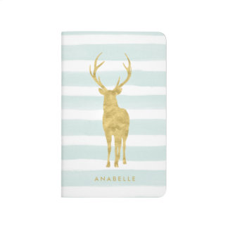 Trendy Mint Watercolor Stripes and Deer Journal