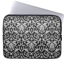Trendy & Mod Black Gray Damask Laptop Sleeve