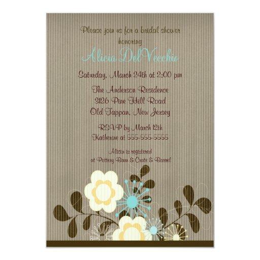 "Trendy Mod Flower Bridal Shower Invitation 5"" X 7"" Invitation Card"