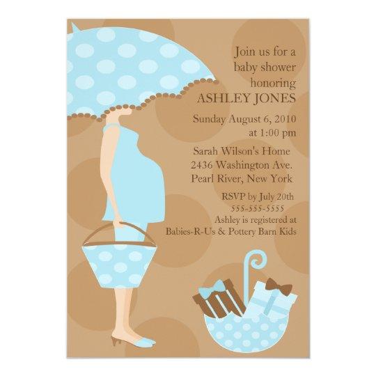 Trendy Mod Mom Boy Baby Shower Card