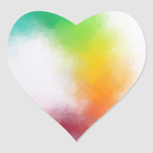 Trendy Modern Abstract Art Colorful Blank Template Heart Sticker