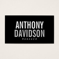 Trendy Modern Black Bold Text Business Card at Zazzle